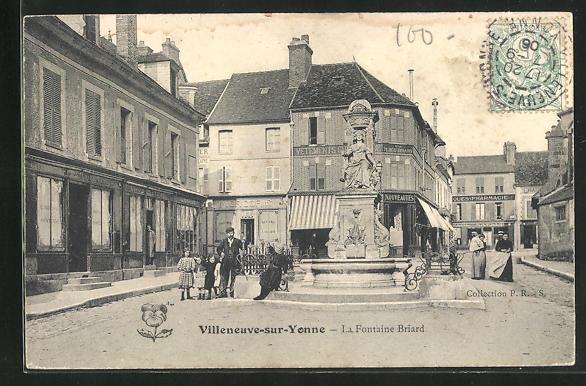 AK Villeneuve-sur-Yonne, La Fontaine Briard 0