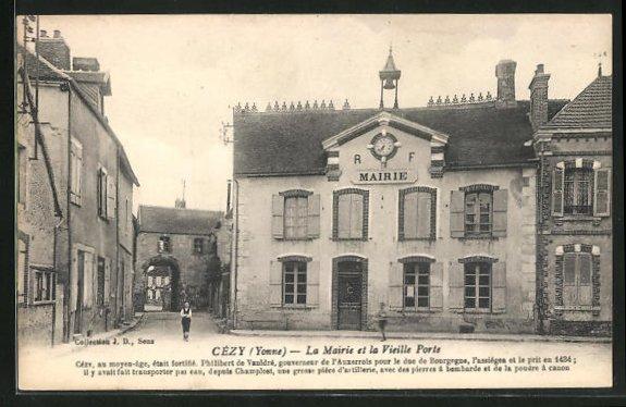 AK Cezy, La mairie et la vieille porte, Ortspartie 0