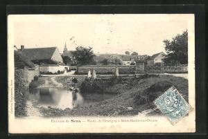 AK Saint-Martin-sur-Oreuze, Partie am Dorfteich