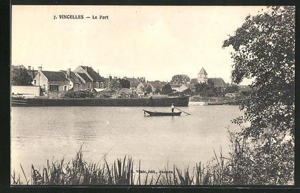 AK Vincelles, Le port, Ruderboot im Hafen 0