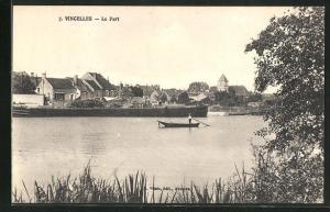 AK Vincelles, Le port, Ruderboot im Hafen