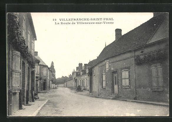 AK Villefranche-Saint-Phal, La route de Villeneuve-sur-Yonne 0