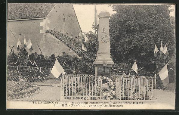 AK Lainsecq, Monument commemoratif de la Guerre 1914-18 0