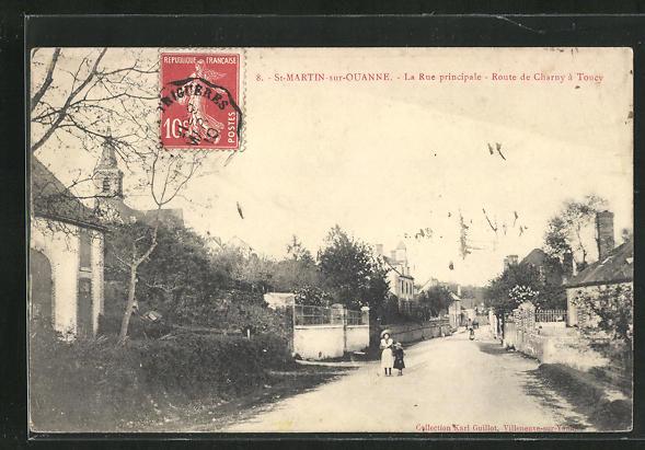 AK St-Martin-sur-Ouanne, La rue principale, Route de Charny à Toucy 0