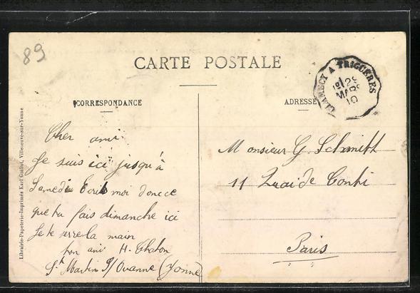 AK St-Martin-sur-Ouanne, La rue principale, Route de Charny à Toucy 1