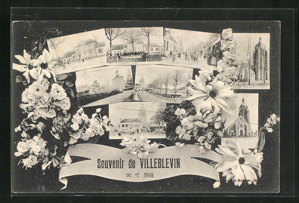 AK Villeblevin, verschiedene Ortsansichten von Kirche, Strassen und Plätzen, Blumen 0