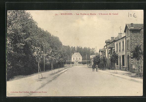 AK Migennes, Les Ecoles et Mairie, L`Avenue du Canal 0