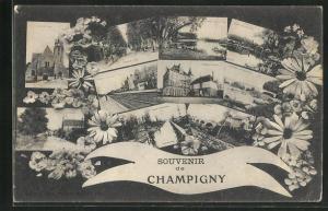 AK Champigny, verschiedene Ortsansichten von Bahnhof, Strassen, Gewässern und Kirche, Blumen