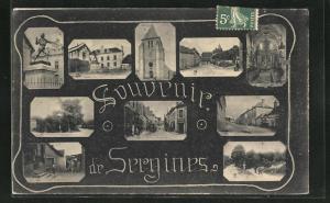 AK Sergines, verschiedene Ortsansichten von Kirche, Statue de Blaise Rigault, Plätzen und Strassen