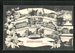 AK Serbonnes, Chateau, Inneres der Kirche, verschiedene Ansichten von Strassen, Plätzen und Gebäuden, Blumen