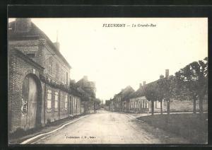 AK Fleurigny, La Grande-Rue, Häuserfassaden