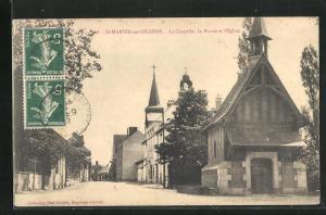 AK Saint-Martin-sur-Ouanne, La Chapelle, la Mairie et l`Eglise