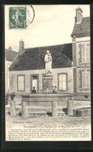 AK Dixmont, La Fontaine sur la Place