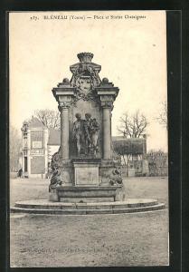 AK Bleneau, Place et Statue Chataignier