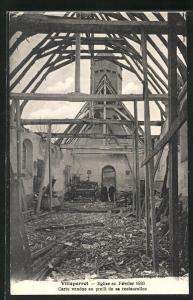 AK Villeperrot, Eglise en Février 1930, Carte vendue au profit de sa Restauration, Baustein zur Restaurierung der Kirche