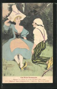 AK Normandie, Mann kniet vor einer Frau