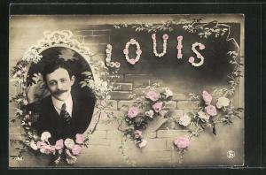AK Namenstag, Louis, Mauer mit Rosen, Junger Mann in Rahmen