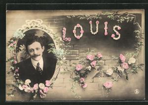 AK Namenstag, Louis, Junger Mann in Anzug, Mauer mit Rosen