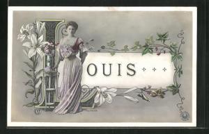 AK Namenstag, Louis, Frau mit Blumen am L, Ranken