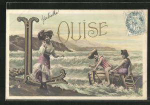 AK Namenstag, Louise, Frauen in Badeanzügen in Ruderboot am Strand, Wellen