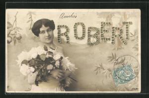 AK Namenstag, Robert, junge Frau mit weissen Blumen in weissem Kleid