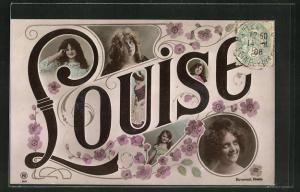 AK Namenstag, Louise, junge Frauengesichter, Blumen