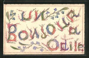 Künstler-AK Handgemalt: Namenstag, Glückwunsch, Odile, Un Bonjour, Buchstaben in bunten Farben