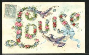 AK Namenstag, Louise, Blumen formen Buchstaben, Vögel mit Bändern