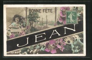 AK Namenstag Jean, Junge Frau mit Blumen