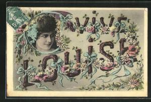 AK Namenstag Louise, Mädchenkopf und Blumen