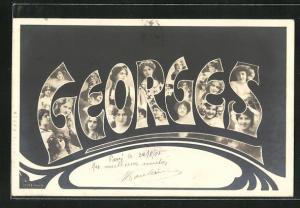 AK Namenstag Georges, Mädchenköpfe in den Buchstaben