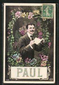 AK Namenstag Paul, Mann von Blumen umrahmt