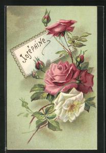 Präge-AK Namenstag Josèphine, blühende Rosen