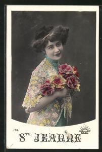 AK Namenstag Ste Jeanne, hübsches Mädchen mit Blumenstrauss