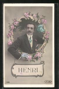 AK Namenstag Henri, Mann von Blumen umrahmt