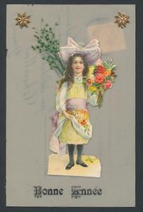 Zelluloid-AK Bonne Année, Mädchen bringt Blumengrüsse