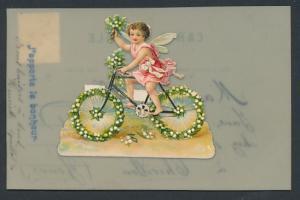 Zelluloid-AK Kleiner Elf auf blumengeschmücktem Fahrrad