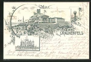 Vorläufer-Lithographie Königswinter, 1895, Gasthaus zum Drachenfels, Drachenburg