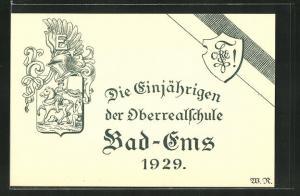 AK Bad Ems, Absolvia, Die Einjährigen der Oberrealschule, 1929, Wappen