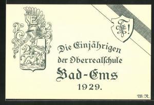 AK Bad-Ems, Absolvia, Die Einjährigen der Oberrealschule, 1929, Wappen