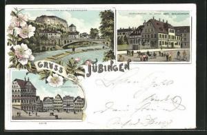 Lithographie Tübingen, Schloss mit Alleenbrücke, Restauration zur Krone, Marktplatz