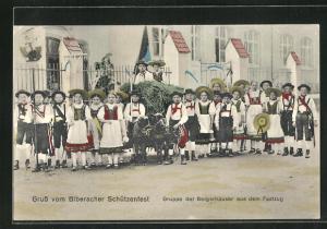 AK Biberach, Schützenfest, Gruppe der Bergerhauser aus dem Festzug