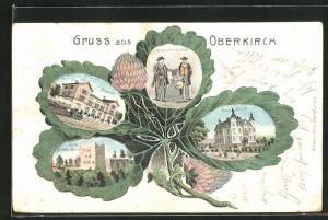 Passepartout-Lithographie Oberkirch, Blätter mit Villa Köhler, Ruine Schauenburg, Bahnhof