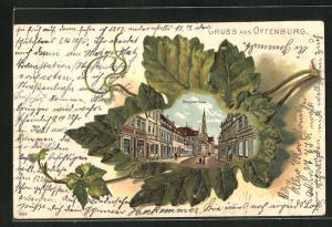Passepartout-Lithographie Offenburg, Hauptstrasse mit Passanten im Blatt