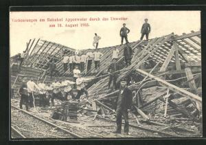 AK Appenweier, Verheerungen am Bahnhof durch das Unwetter 1905