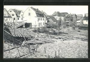 AK Plochingen, Die Katastrophe 1913, Ortspartie