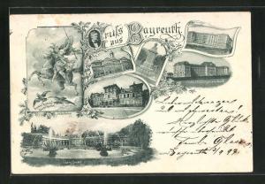 AK Bayreuth, Blick auf obere Grotte, Gymnasium, Lehrerbildungsanstalt und Central-Schule