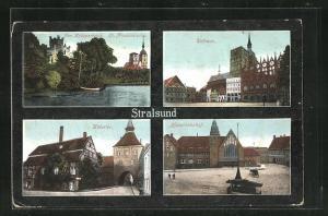 AK Stralsund, Hauptbahnhof, Rathaus, Kütertor