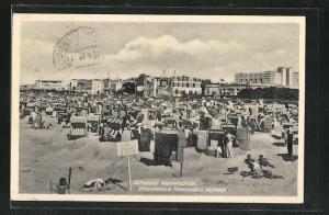 AK Warnemünde, Strandleben mit Promenade und Kurhaus