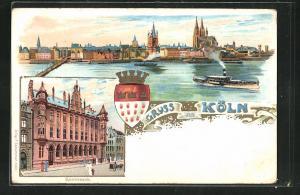 Lithographie Köln, Teilansicht u. Dampfer, Reichsbank
